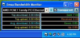 Emsa Bandwidth Monitor - Net speed monitoring utility for Windows. Freeware.