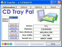 CD Tray Pal - CD-ROM drive control utility for Windows. Freeware
