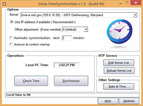 Screenshot of Emsa Time Synchronizer